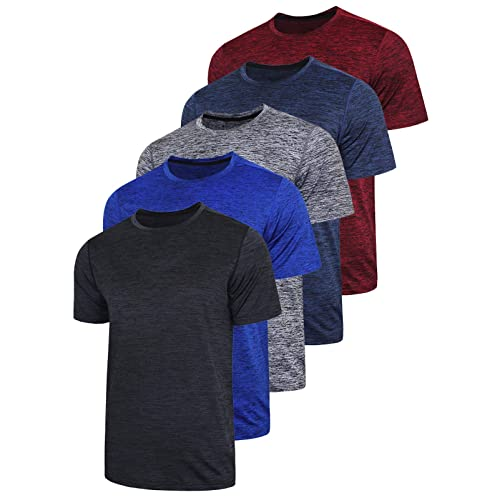 Asysst Mens V Neck Crew Neck Athletic Running T-Shirts Quick Dry Gym Workout Shirts Short Sleeve