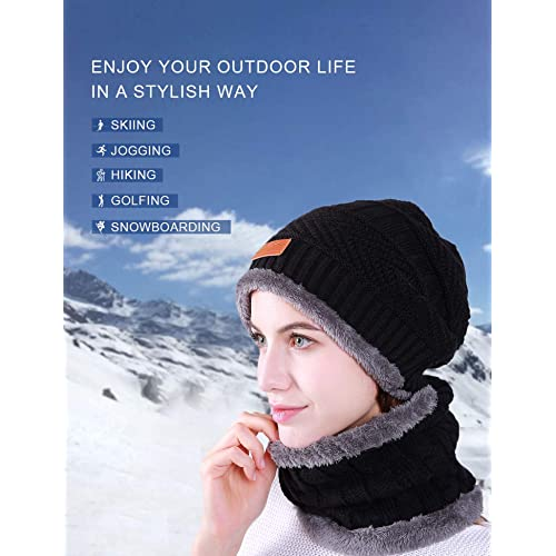 URATOT 4 Pack Winter Knitted Beanie Hat Scarf Gloves Set Thick Hat and Scarf Touchscreen Gloves for Men Women