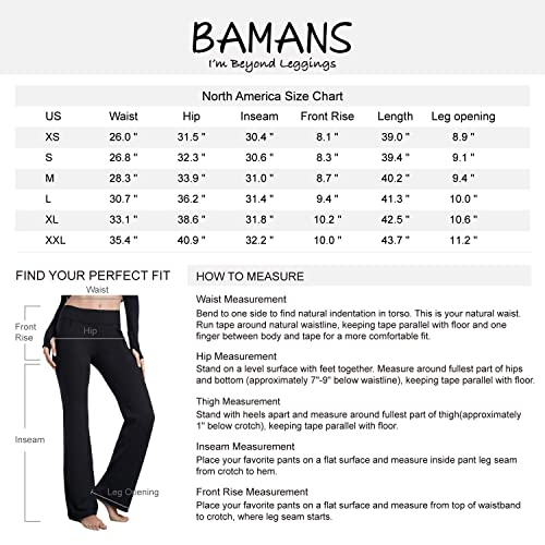 2b7dea46bc PrevNext. PrevNext. Bamans Womens Bootcut Yoga Pants with Pockets Tummy  Control Petite to Plus Size Flared Stretch Workout