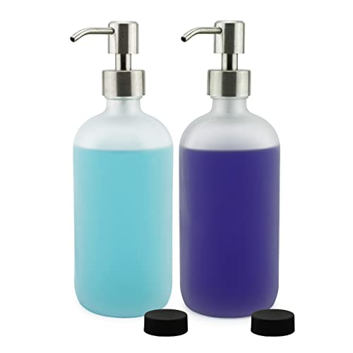 c2c81cccf4f1 Cornucopia Brands Frosted Glass Soap Dispenser w/Stainless Steel Pumps  (White Frosted, 16-Ounce, 2-Pack); Boston Round Bottles w/Lotion Pump Tops  and ...