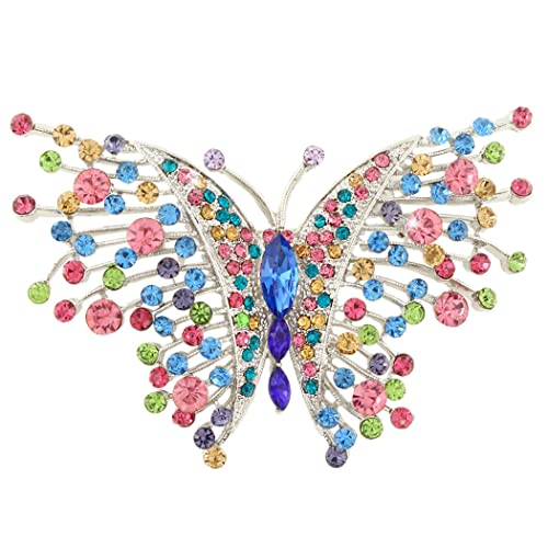 Wremily 4 Pieces Women Brooch Set Crystal Rhinestone Vintage Brooches Pin with Dragonfly Hummingbird Owl Elephant Design Colorful Animal Shape for Women Girls Banquet Wedding Daily Supplies