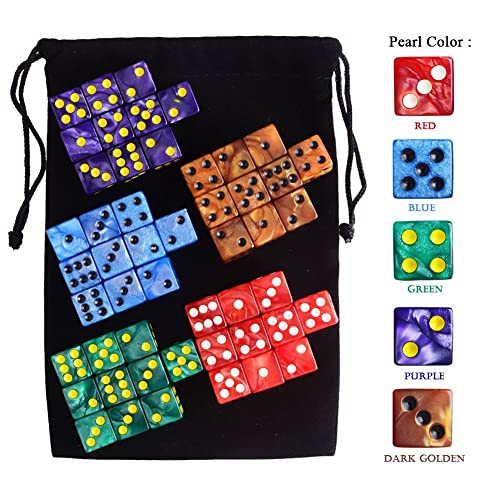 Free Pouch AUSTOR 50 Pieces 6 Sided Game Dice Set 5 Pearl Colors Square Corner Dice
