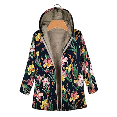 JERFERR Women Loose Sweater Button Coat Fluffy Tail Hooded Pullover Jacket Overcoat