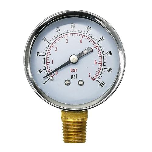 """1//8/"""" BSPT Bottom Connection Vacuum Pressure Gauge Dual Scale 50mm Dial Display Air Water Oil Gas Gauge Meter 0-60psi 0-4bar"""