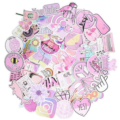 Cute Pink Girl Aesthetic Kawaii Water Bottle Stickers Trendy Samll Waterproof Vinyl For Laptop Water Bottle Notebook Skateboard Luggage