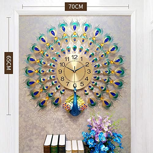 Buy Langshi Peacock Wall Clock Large Silent Battery Power Supply Large 27 5in25 5in Online In Kuwait B07vjm69gv