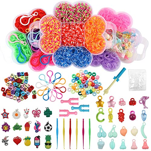 500 Clips 100 ABC Beads to Bracelet Maker Making Kit for Kids 6000+ Rainbow Rubber Bands Twist Loom Set: 5000 Rubber Loom Bands Kits 14 Unique Colors 40 Charms 150+ Beads 12 Backpack Hooks