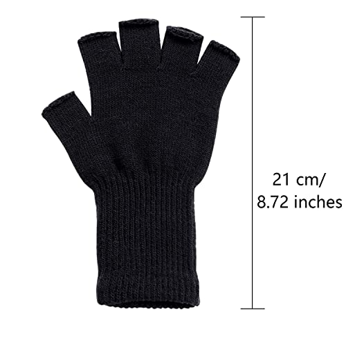 Cooraby 3 Pairs Unisex Kids Fingerless Winter Gloves Stretchy Knitted Half Finger Mittens Typing Gloves