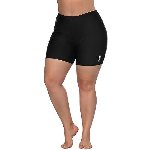 Hanna Nikole Womens Long Board Shorts Swim Bottom Plus Size Tankini Swim Shorts