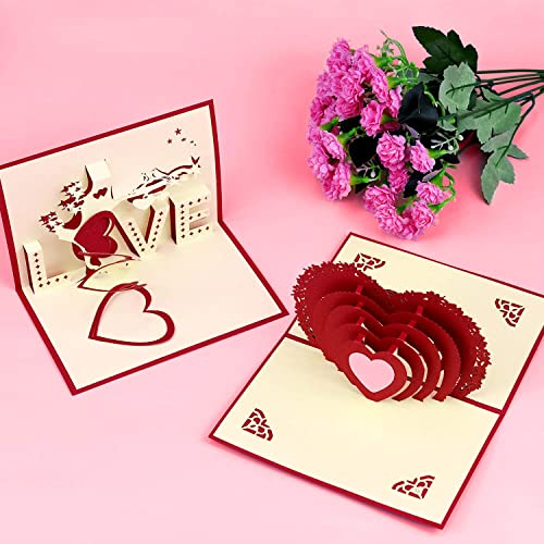 Pop Up Greeting Cards Glitter Romantic Love Heart Red Rose Love Tree Sweet Couple with Envelopes for Valentines Day Birthday Anniversary Wedding Gifts EAONE 4 Pack 3D Valentines Day Cards