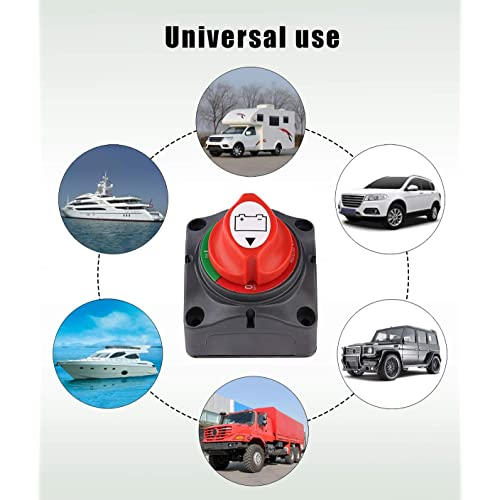 Truck MIDYA 12V/24V 200A-500A for 5 seconds Car Battery Disconnect Isolator Master Switch with 2 Removable Key Yacht Rotary Switch Isolator Master Power Cut Out/Off Kill Switch Widely For Auto Electronics Racing Car Van etc Electrical Products,Boat