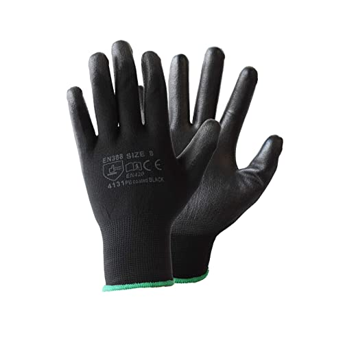 Vgo 15 Pairs PU Coated Construction Protective Gardening and Work Safety Gloves Multifunction Size S, Black, PU2103