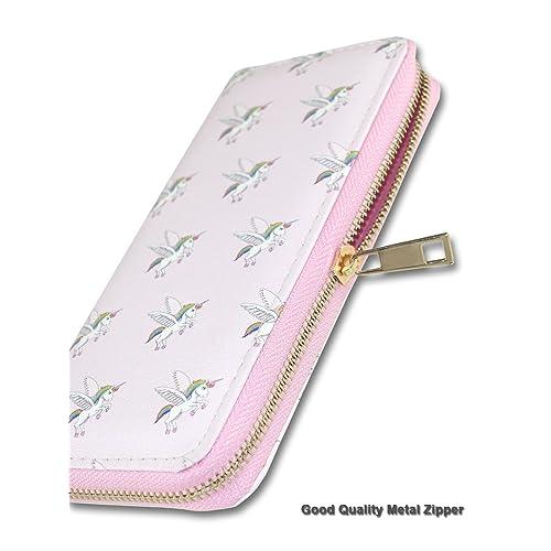 Cute Unicorn Rainbow In Pink Womens RFID Blocking Zip Around Wallet Genuine Leather Clutch Long Card Holder Organizer Wallets Large Travel Purse