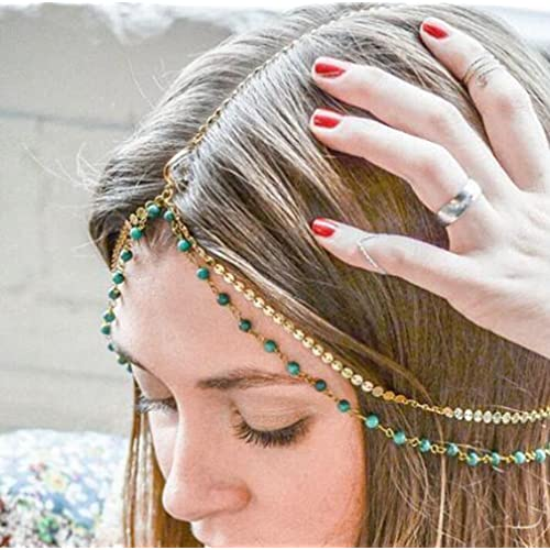 Bohemia Fashion Women Crystal Turquoise Head Chain Headpiece Hair Band Headband