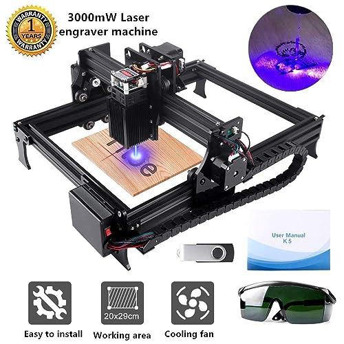 Art Craft Logo Mark,Working Area 225mmx120mm /… Titoe 3000mw Laser Engraver Machine Portable Desktop Engraving Machine Mini Carver Wood Printer with Protective Glasses for DIY