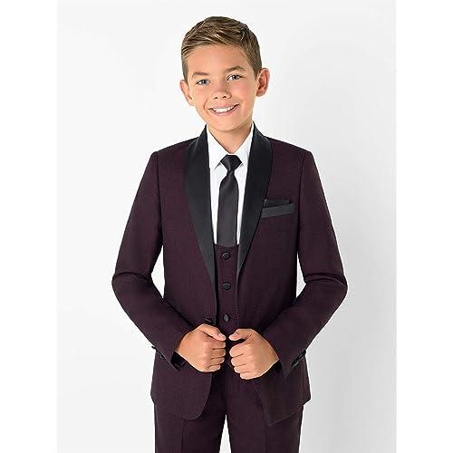 Boys Black Three-Piece Prom Suit Roco Modern-Fit Tuxedo 1-14 Years