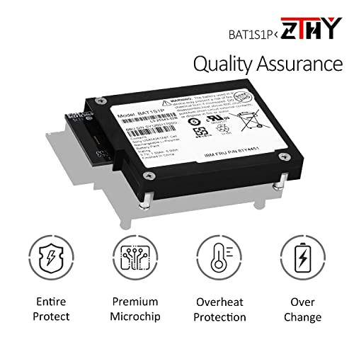 ZTHY BAT1S1P Backup Unit Battery for LSI Logic BBU-iBBU08 MegaRaid RAID 81Y4451 81Y4508 81Y4490 81Y4491 IBM 9260-8i 9280-8i M5000 M5110 M5014 M5015 M5016 Series Controllers 3.7V 1.59Ah 5.9Wh