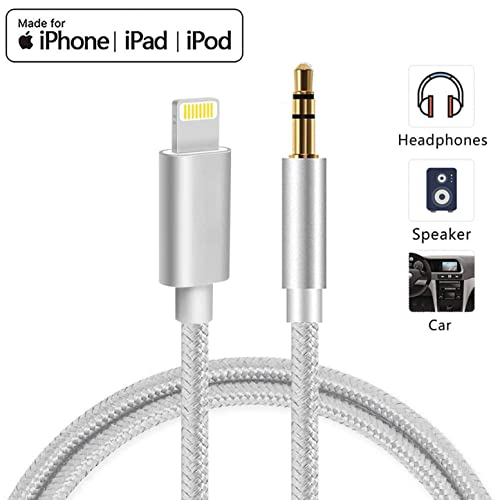Speaker Compatible with All iOS Systems 3.3ft-Silver Headphone Aux Cable for Car for iPhone 11//X//XS//8//8Plus//7//7Plus//Jack to 3.5mm Male Audio Adapter for Headphones Jack Cable Aux Cord for Car Stereo