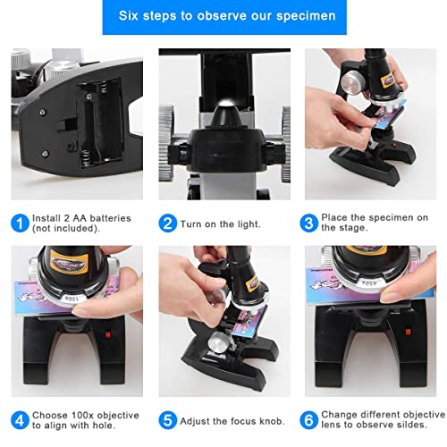Uong Kids Microscope Science Toys for Early Education fits Kids or Chidren 100x 400x 1200x Microscope Set Educational Microscope Kit