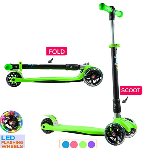 Stream Folding Design 3 Wheels Scooter 3-in-1 Kids Scooter Kick Scooter with Adjustable Removable Seat Lightweight Toddler Scooter with Flashing Led Light Up Wheels for Boys and Girls 【Upgraded】