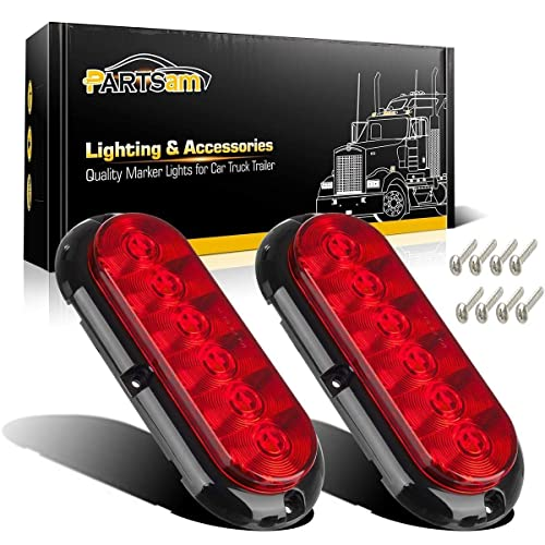 "2 Pcs LedVillage 6/"" Smoked Lens Red Oval 24 LED High Brightness Flush Mount Multi-Function Bulb Clearance Lamp w//Grommet /& Plug Stop Tail Brake Truck RV Trailer Jeep Freightliner Marker Light 12v DC"