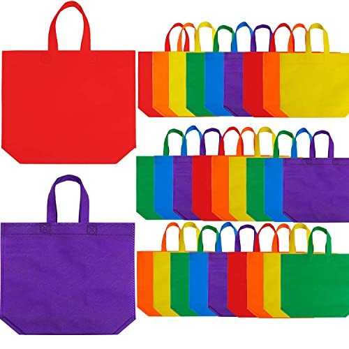 Aneco 25 Pack 10 x 10 Inch Non-woven Tote Bags Party Gift Bag Goodie Treat Bags