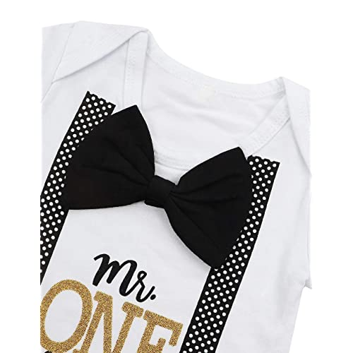 DONWEN Baby Boy First Birthday Outfit Mr Onederful Bowtie Romper+Shorts Pants