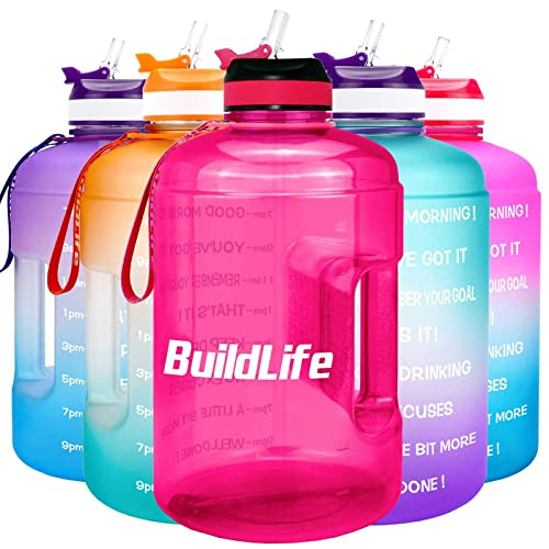 BuildLife 3.78L//2.2L Motivational Water Bottle Wide Mouth with Straw /& Time Marked to Drink More Daily,BPA Free Reusable Gym Sports Outdoor