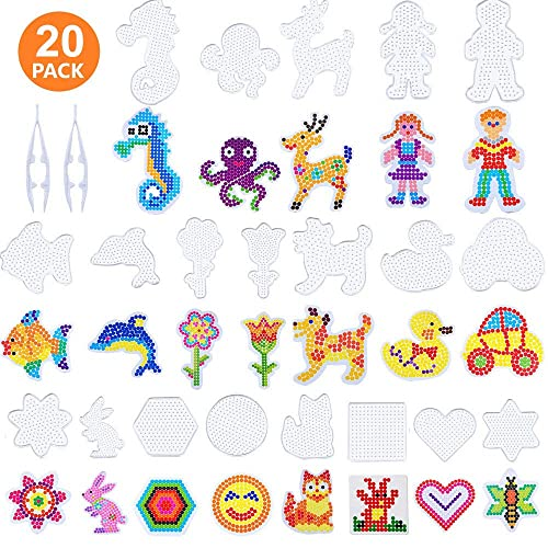 10 PCS Ironing Paper and 2 Style Keychain for Kids Craft Supplies Allazone 5 mm 52 PCS Fuse Beads Boards Set 6 PCS Large Square Clear Plastic Pegboards with 6 PCS White Beads Tweezers