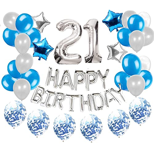 Jevenis 36 Pcs Silver Blue 21st Birthday Decorations Party Supplies 21 Birthday Balloons Happy Birthday Balloon Banner 21 Birthday Decorations Buy Products Online With Ubuy Kuwait In Affordable Prices B07x3hfxgx
