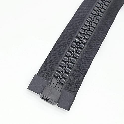 200cm #20 Giant Plastic Zippers for Sewing Large Resin Vislon Zippers Super Large Separating Zippers for Tents Coats Overcoats Down Jackets Boat Cover Canvas Heavy Duty 78 Black