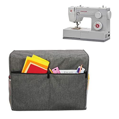 Gray Dots Dust Cover Protector Compatible with Most Standard Singer and Brother Sewing Machines Teamoy Sewing Machine Cover
