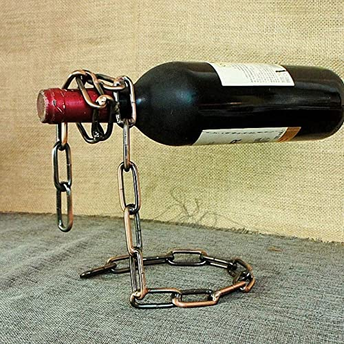Hand Forged Black Iron Wine Bottle Holder With Rose Bud