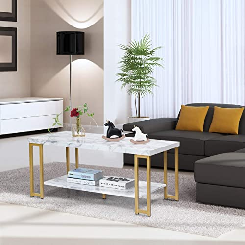 Buy Giantex Coffee Table Rectangular, 2-Tier W/Gold Print