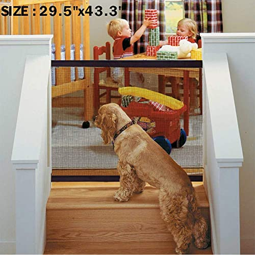 Mesh Magic Pet Dog Gate Safe Guard Retractable Install Anywhere Fence Folding US