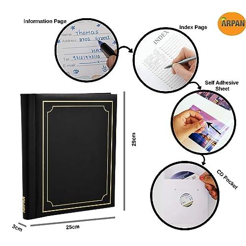 2 x Arpan Large Deluxe Self Adhesive Photo Album totaling 80//sheet 160//sides Black