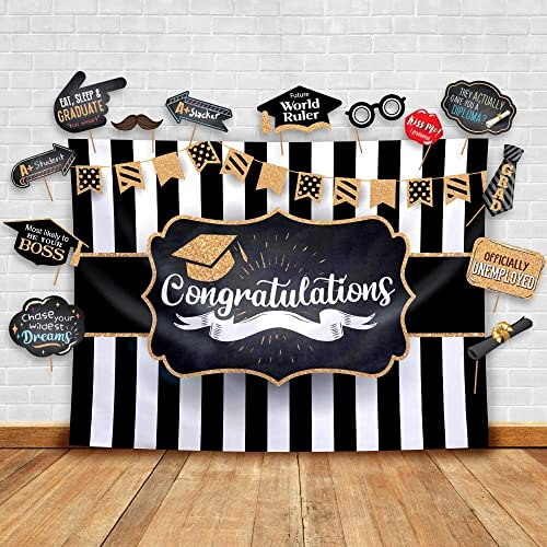 2019 Graduation Party Backdrop Classy Black White And Gold Theme Photography Fabric Backdrop And Studio Props Diy Kit Great As Photo Booth