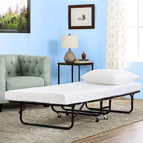 "Guest Folding Bed Frame Camping Bed Cot Foldaway 3/"" Comfort Foam Mattress White"