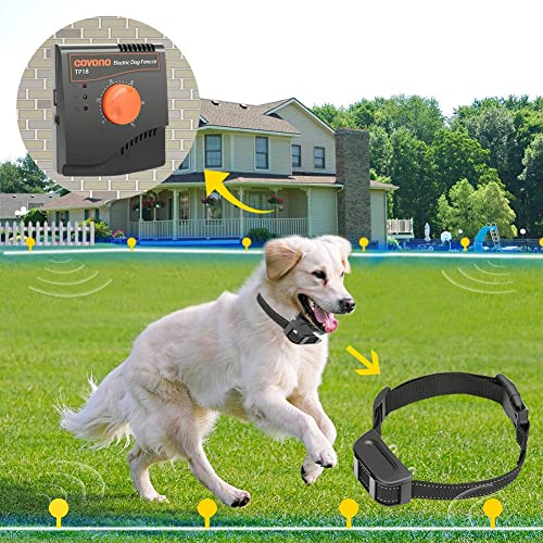 Underground or Aboveground,500Ft Copper Wire,Waterproof/&Rechargeable Collar,Shock//Tone Correction COVONO Electric Dog Fence,Upgraded In Ground Pet Containment System