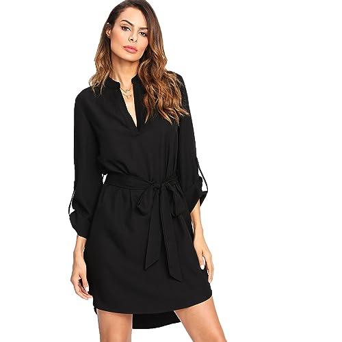 c385bedf8f Buy Milumia Women's V-Neck 3/4 Sleeve High Low Curved Hem Self-Tie Waist  Shirt Dress with Ubuy Kuwait. B07B4VKD9C