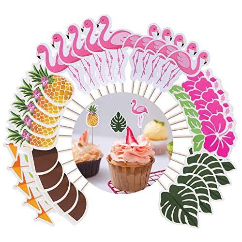 Luau Cupcake Toppers Hawaiian Cake Decorations 60 Pcs