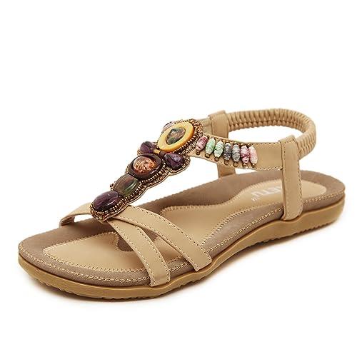 DQQ Womens Black Thong Flat Sandal 7 US