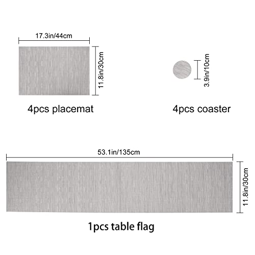 Placemats and Coaster Sets,Place mats,Stain-resistant Cross weave Woven Vinyl Non-Slip Washable Heat Resistant Grey Place Mats Aiglam Placemats