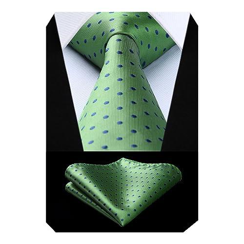 "TD607G8S Green Blue Polka Dot 3.4/"" Silk Tie Party Wedding Handkerchief Set"