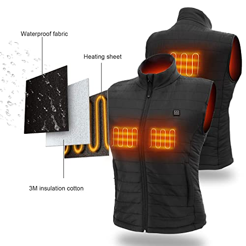 Sunbond Womens Heated Vest with 5V Rechargeable Battery Pack,Washable Temperature Adjustable Electric Heated Vest for Women Outdoor Skiing Hiking Camping