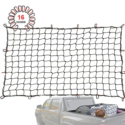 Latex Bungee Cords Orion Motor Tech 4336326025 4x4 Small Mesh 1//5 Dia Latex Bungee Cords 4x4 Small Mesh 1//5 Dia OrionMotorTech 4x6 Stretches to 8x12 Trailer Truck Bed Cargo Net with 24pcs Aluminium Hooks