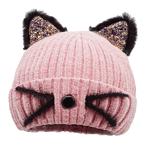 d9601ba5 Buy Bellady Mother Children Sequin Cat Ears Hats Warm Knit Crochet Beanies  Cute Fashion Skull Cap with Ubuy Kuwait. B07HGY1KSV