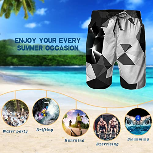 QWESSD Space Kids Transportation Mens Swim Trunks Quick Dry Bathing Suit Beach Board Shorts with Mesh Lining