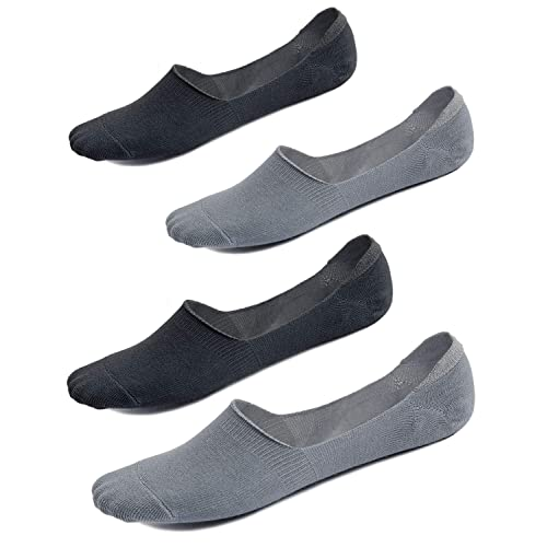Men No Show Socks Cotton Invisible Non-Slip Socks Casual Boat Cut Socks With Heel Grips UK 6-10