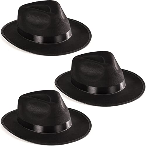 Costume Hats Black Fedora Hats Funny Party Hats Black Gangster Hat Costume Accessories